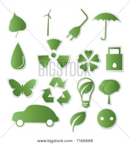 Collection of green eco-icons for your design poster