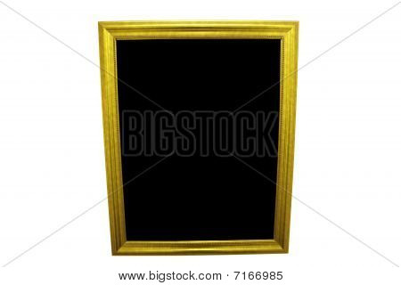 Gold Mirror Or Picture Frame Isolated On A White Background