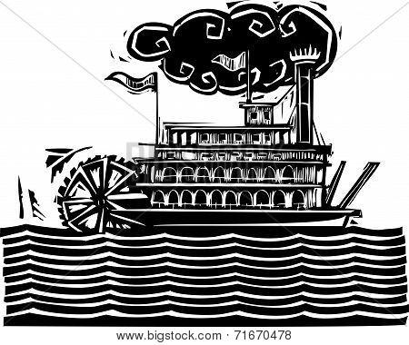 Stern Wheel Riverboat In Waves