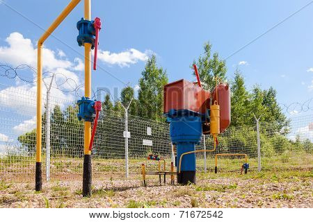 Gas Regulatory And Distribution Point In Summer Sunny Day