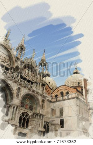 art watercolor background on paper texture with facade of St Mark's basilica in Venice, Italy poster