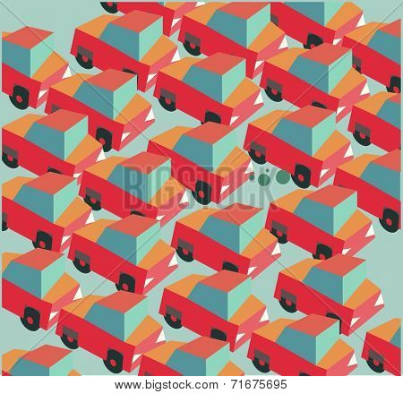 Traffic jam is a common. Flat vector illustration