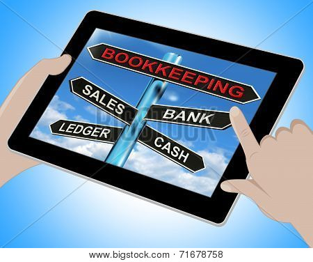 Bookkeeping Tablet Means Sales Ledger Bank And Cash