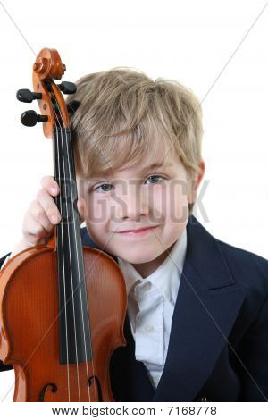 Young Student Holding A Violin