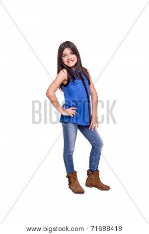 Girl Posing Over White