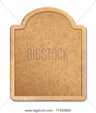 Vector cork bulletin board with wood frame on white background poster