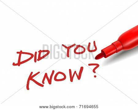 The Words Did You Know With A Red Marker