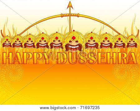 Ravana burning on fire in Happy Dussehra