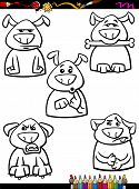 Coloring Book or Page Cartoon Illustration of Black and White Funny Dogs Expressing Emotions Set for Children poster