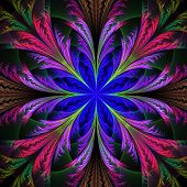 Beautiful multicolor fractal flower. Collection - frosty pattern. Computer generated graphics. poster