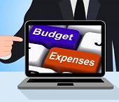 Budget Expenses Keys Displaying Company Accounts And Budgeting poster
