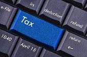closeup of the tax icon on the computer keyboard poster