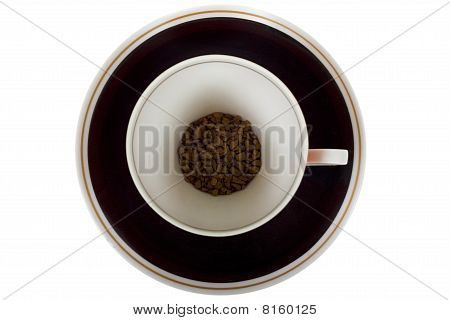 a cup of instant coffee isolated on white background