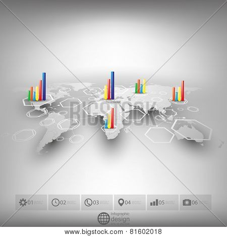 White world map in perspective, blurred infographic vector template for business design poster