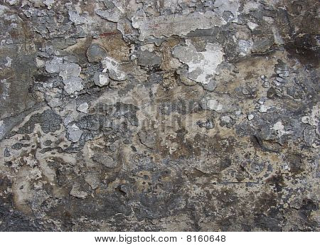 Multiple Layers Of Gray Brown Beige Paint Blathering Peeling