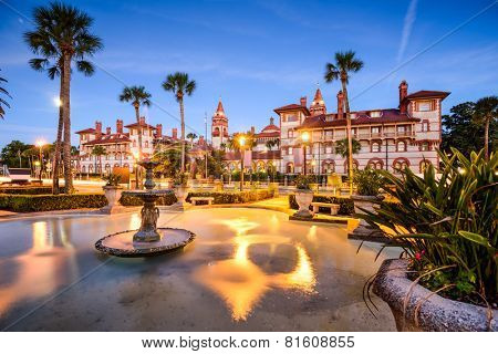 St. Augustine, Florida, USA townscape at Alcazar Courtyard. poster
