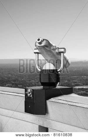 LOS ANGELES, CALIFORNIA - January 24, 2015: Griffith Observatory Binoculars.