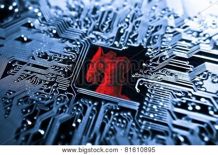 Symbol of a red trojan horse on blue computer circuit board background poster