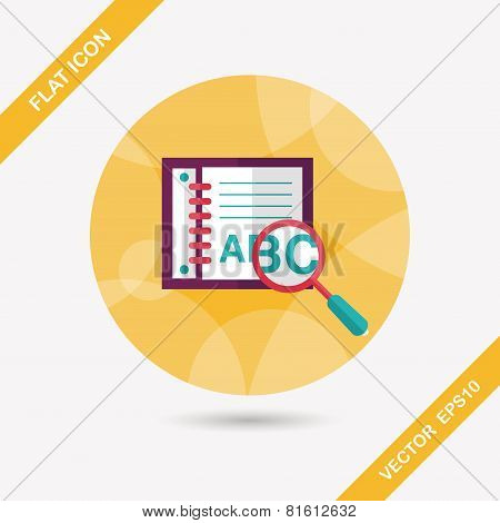 Search Dictionary Book Flat Icon With Long Shadow,eps10 Design elements for mobile and web applications, stylish colors of vector illustration. poster