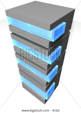 3D Server With Blue Glass