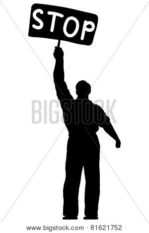 Illustration of silhouette of a man with a banner