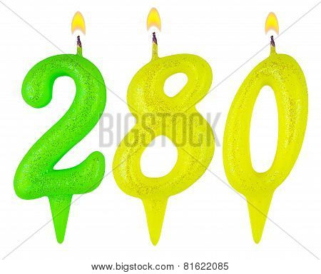 candles number two hundred eighty isolated on white background poster