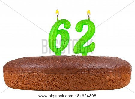 Birthday Cake With Candles Number 62 Isolated