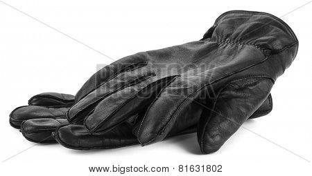 Pair of men's black leather gloves isolated on white background.