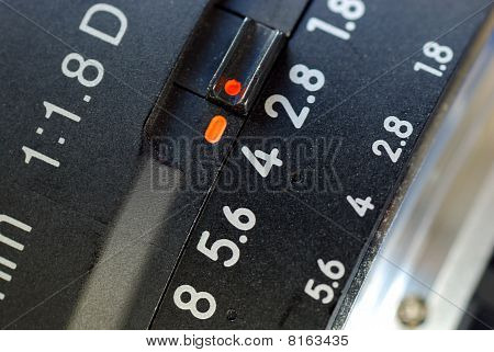 Close up view of a macro lens focused on the big number 4