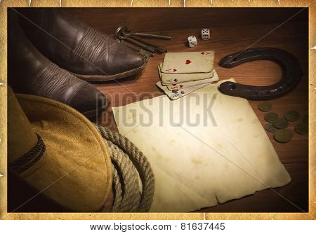 American West Background With Poker Cards And Cowboy Objects