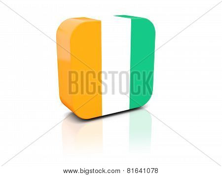 Square Icon With Flag Of Cote D'ivoire