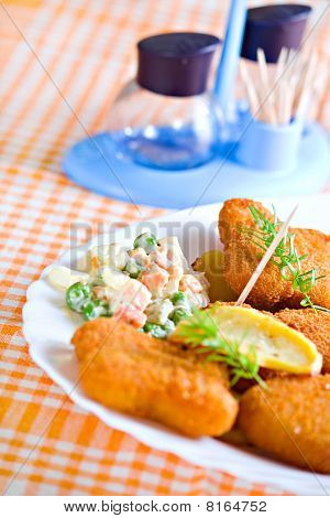 Appetizing Food Plate With Salt Dish Vegetable