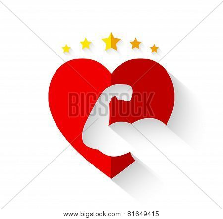 Muscular Arm On Heart Shape With Crown Of Stars And Long Shadow - Strong Hearts Or Love Fitness Conc