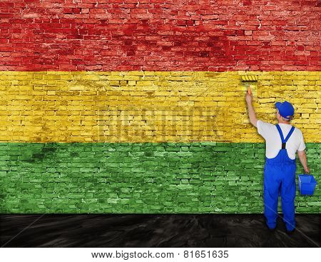 Painter Paints Flag Of Reggae Music