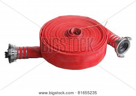 Rolled Up Red Fire Hose  Extension Soft Pipe On White