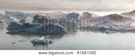 Iceberg in the glacier lagoon. Iceland.