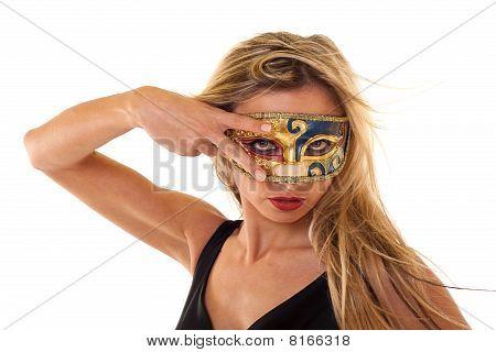 Girl Wearing  A Vintage Mask