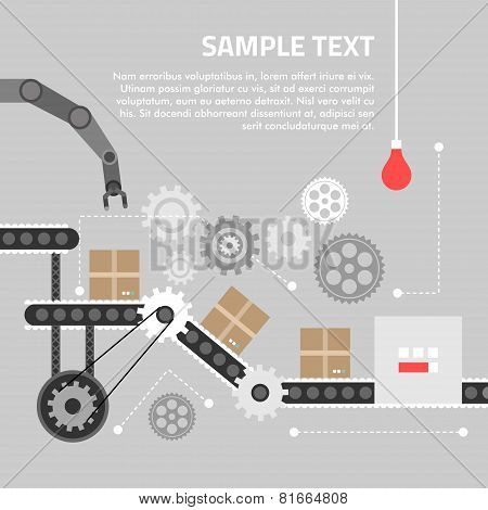 Flat Design Concept For Technlology Process. Vector Illustration For Web Banners And Promotional Mat
