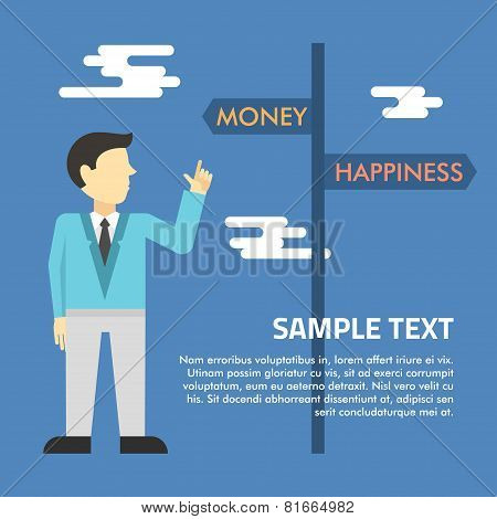 Flat Vector Illustration. Man Shows At The Sign With Arrows Money And Happiness