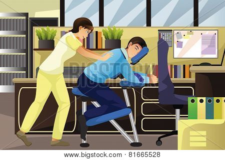 Massage Therapist Working On A Client In An Office