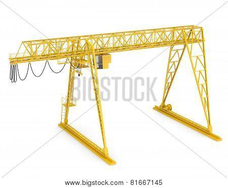 Yellow gantry bridge crane, half-turn