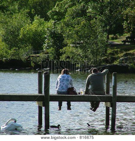 Couple by lake.