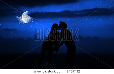 Romantic Night Kiss