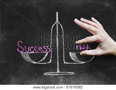 The Success And Risk At Different Scales-drawing With Chalk On The Blackboard