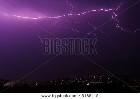 Thunderbolt over city