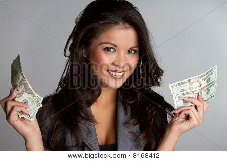 Beautiful happy smiling business woman holding money poster