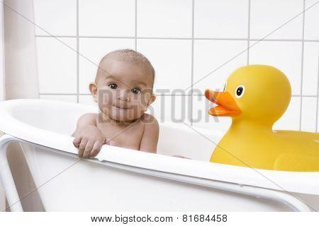 Beautiful Baby In A Bath Tub