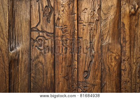 teak wood plank wall