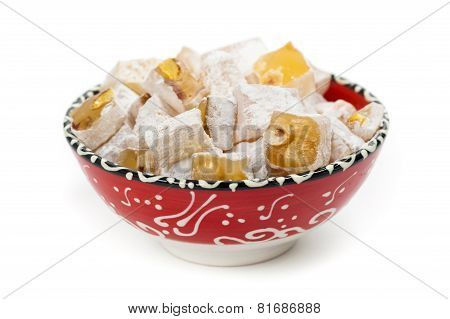 poster of Turkish Delight Nuts Rahat Locum isolated on white background. Selective focus.