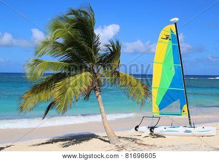 Hobie Cat catamaran ready for tourists at Bavaro Beach in Punta Cana